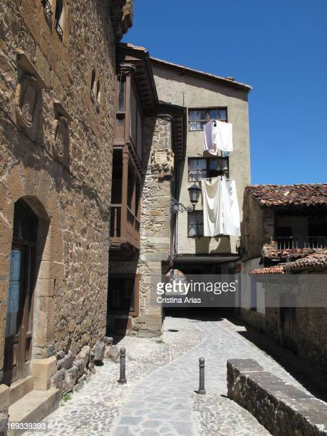 Street of the old town of Potes, in the Valley of Liebana, near the Picos de Europa, Cantabria, Spain.