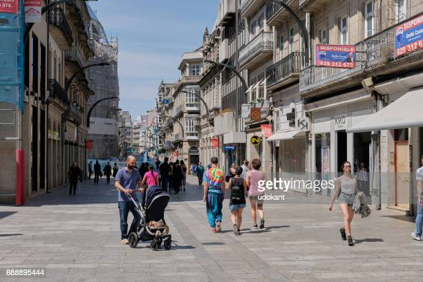 street of vigo, spain - pontevedra province stock photos and pictures