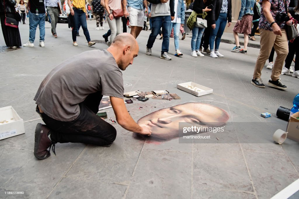 Street painter in Florence Italy : Stock Photo
