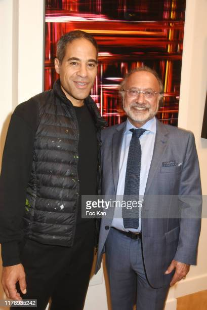Street Painter JonOne and Olivier Dassault and Jean Louis Haguenauer attend JonOne Paintings Exhibition Preview Hosted by Natacha Dassault and...