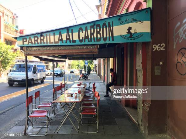 street 'parrilla' in buenos aires - palermo buenos aires stock photos and pictures