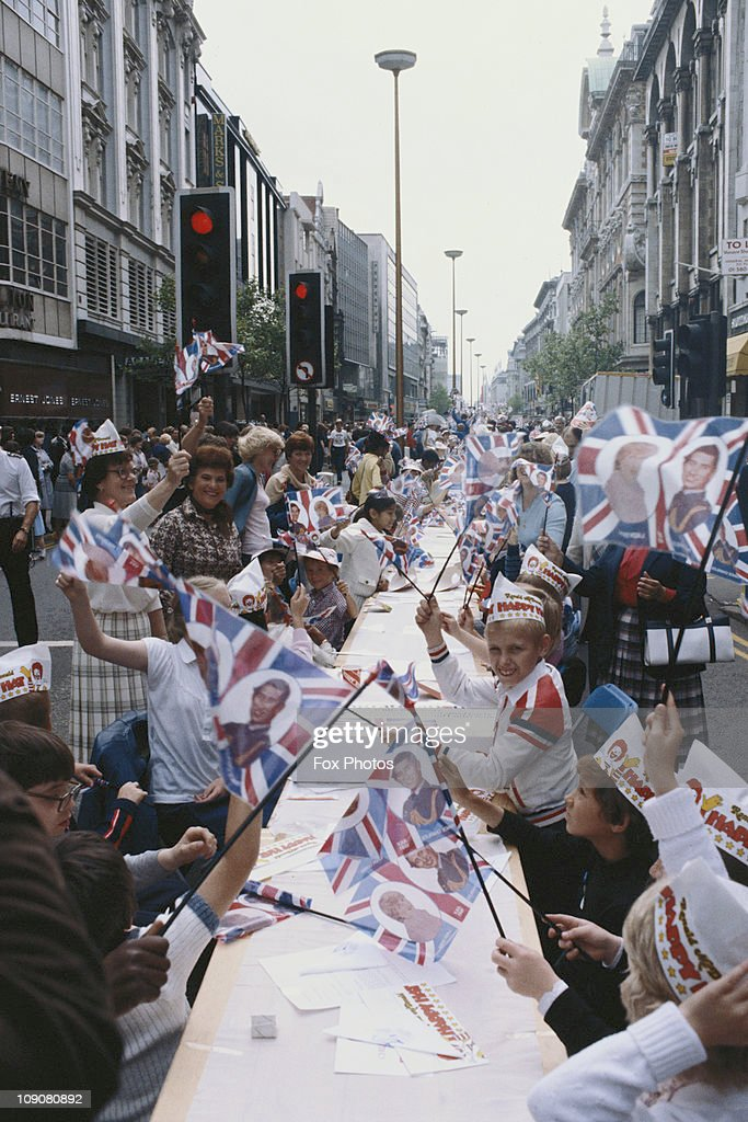 A street party for children to celebrate the royal wedding of Prince Charles and Lady Diana Spencer, Oxford Street, London, 29th July 1981.