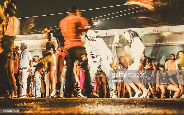 street party in ghetto. - reggae stock photos and pictures