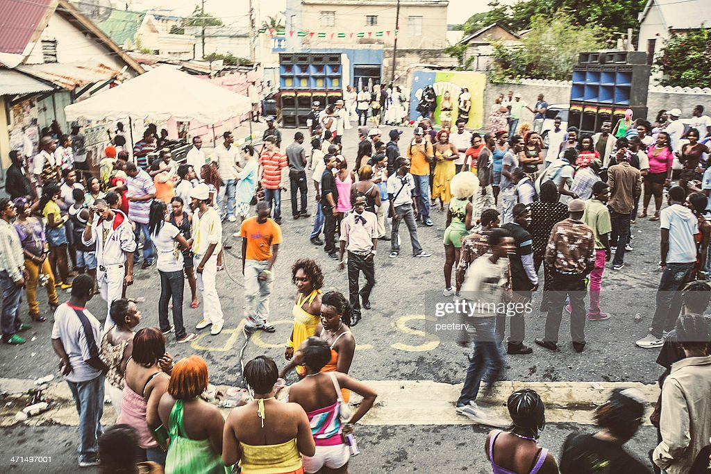 Street party in ghetto. : Stock Photo