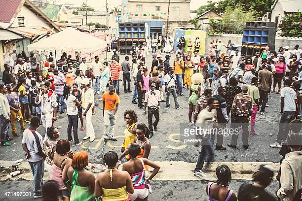street party in ghetto. - kingston jamaica stock pictures, royalty-free photos & images