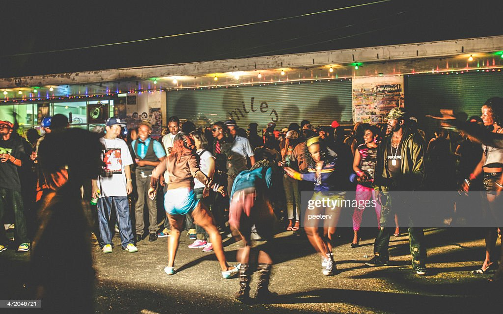 Street party in ghetto. : Stock Photo
