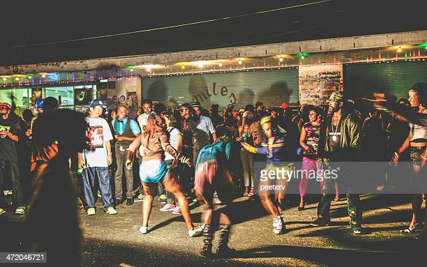 street party in ghetto. - jamaican culture stock pictures, royalty-free photos & images