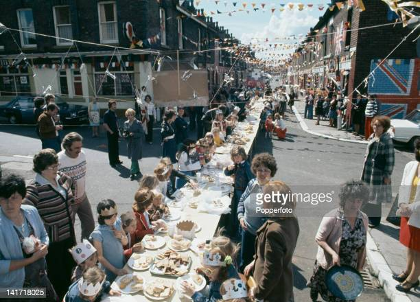 A street party is held in Stowell Street Salford Greater Manchester to celebrate the Silver Jubilee of Queen Elizabeth II June 1977