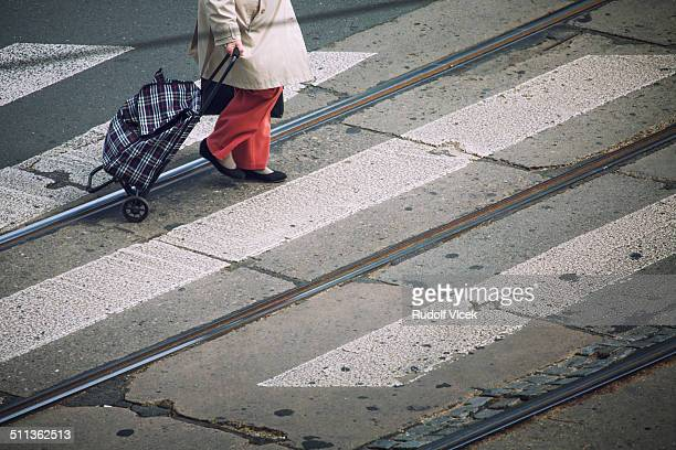 street pedestrian crossing - pedestrian crossing sign stock photos and pictures