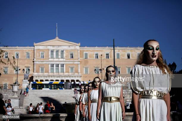 Street performance by Abolishion team to raise awareness of human trafficking and sexual slavery Athens Greece Sep 20 2016 Over 10000 unaccompanied...