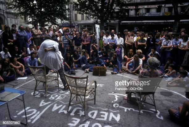 Street performance during the Avignon Theatre Festival in July 1977 in Avignon France