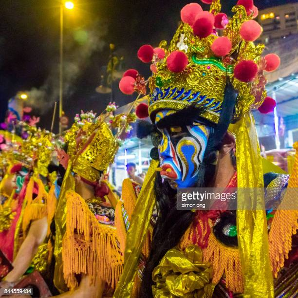 street performance for hungry ghost festival in kuala lumpur, malaysia. - hungry ghost festivals in malaysia stock pictures, royalty-free photos & images