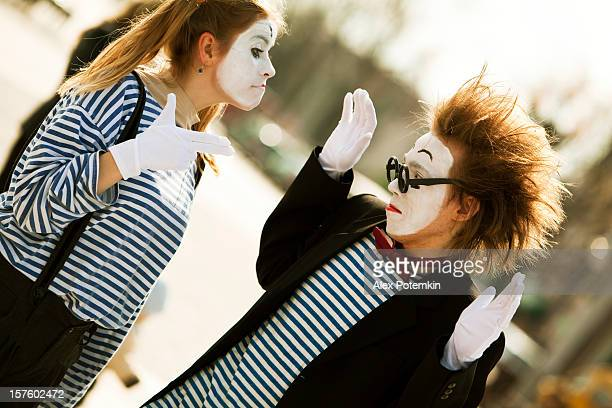 street performance: mime - happy clown faces stock photos and pictures