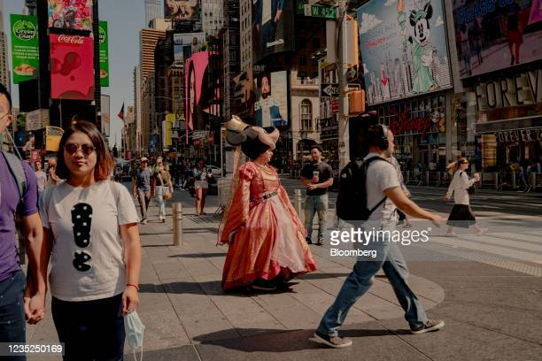 Street performer dressed as Minnie Mouse in the Times Square neighborhood of New York, U.S., on Saturday, Sept. 4, 2021. This month, as Broadway...