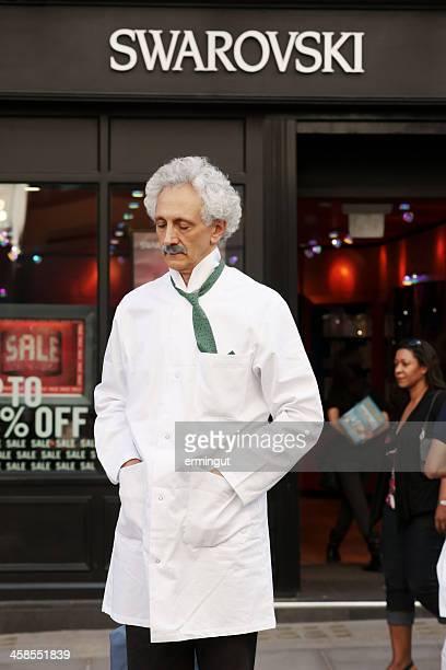 Street performer imitating Albert Einstein