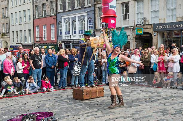 Street performer on the Royal Mile in Edinburgh