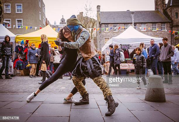 Street Performers Dance in Edinburgh's Grassmarket