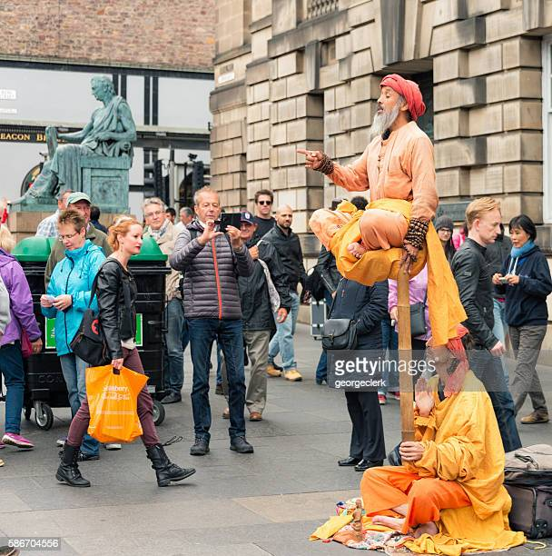 Street performers on the Royal Mile during Edinburgh's annual Festival