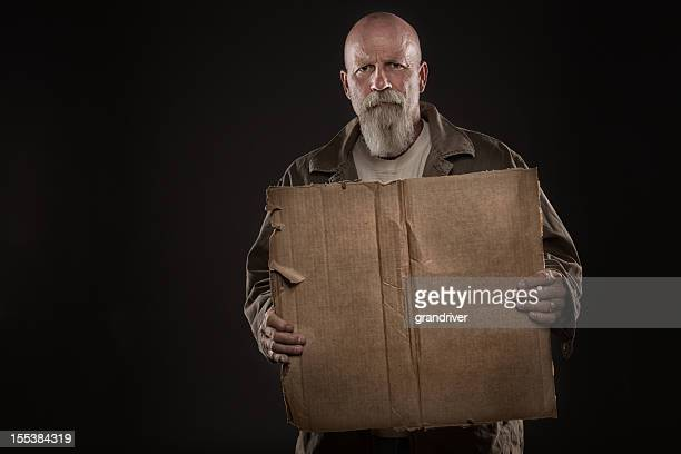 Street Person with Cardboard Sign