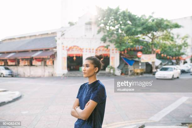 street portrait - george town penang stock photos and pictures