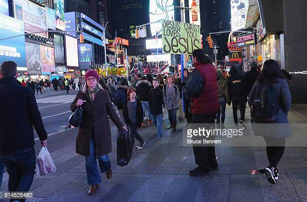 A street preacher works the Times Square area as photographed on March 5 2016 in New York City