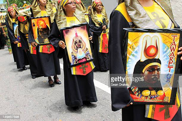 Street procession, during the celebrations of the Emancipation Day of Trinidad, on August 01, 2012 in Port of Spain, Trinidad and Tobado.