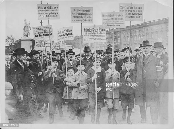 A street protest in Germany during World War One attacking the Polish nation due to issues with Upper Silesia BerlinGermany circa 19141918