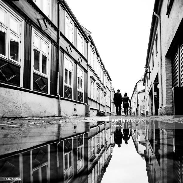 """street reflections - trondheim, norway - """"peeter viisimaa"""" or peeterv stock pictures, royalty-free photos & images"""