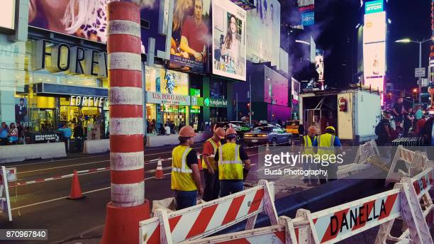 Street repair at 7th Avenue, Times Square, Midtown Manhattan, New York City