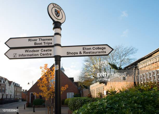street road signs at eton, england - windsor england stock pictures, royalty-free photos & images