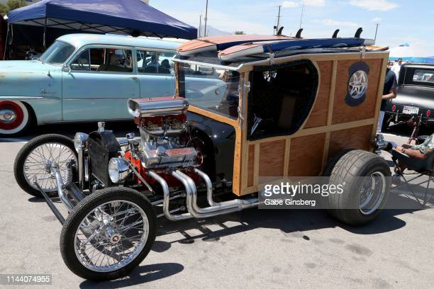 A street rod is displayed during the Viva Las Vegas Rockabilly Weekend's car show at the Orleans Arena on April 20 2019 in Las Vegas Nevada