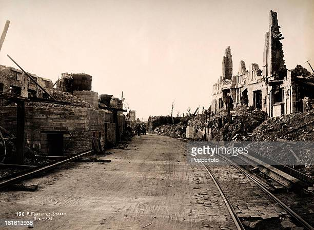 A street running through the town of Diksmuide in Belgium photographed soon after the end of World War One circa March 1919 This image is from a...