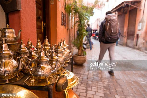 street sale in marrakesh souks - agadir stock pictures, royalty-free photos & images