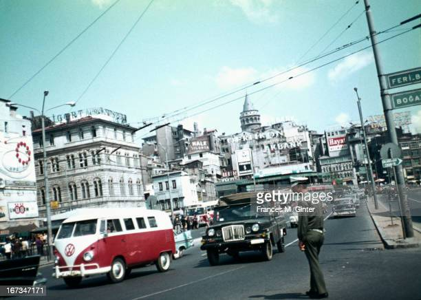 Street scene along the route to Dolmabahce Ferry Galata Tower stands in the distance August 1970