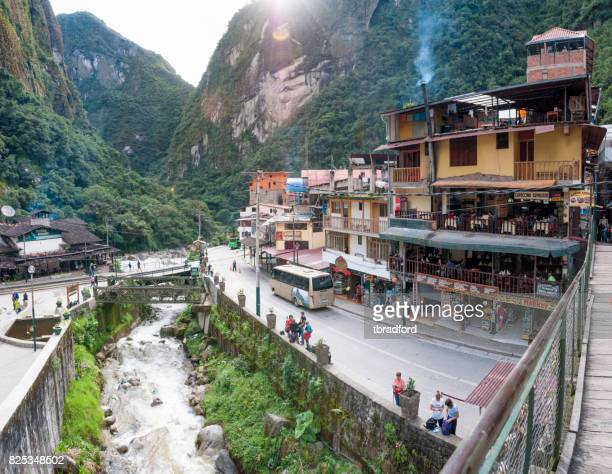 Street Scene and the Urubamba River In Aguas Calientes, Peru