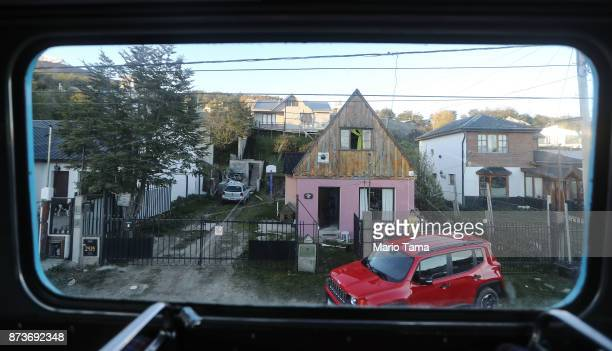 A street scene as viewed from the window of a vintage London Routemaster bus used for tourist tours on November 5 2017 in Ushuaia Argentina Ushuaia...