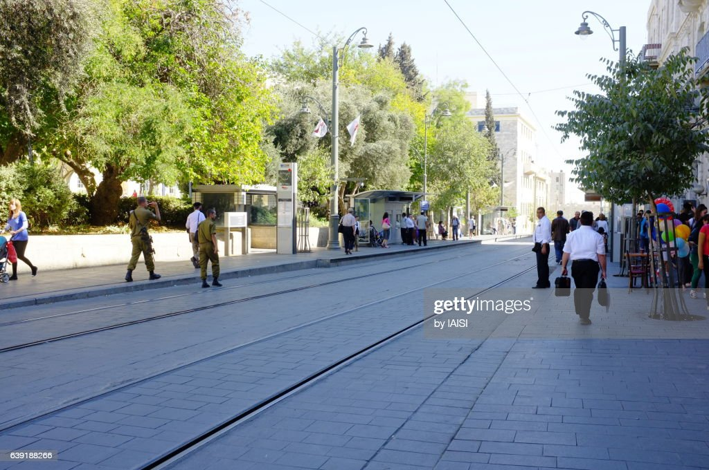 Street Scene At Jerusalem Lightrail Jaffa Road Stock Photo | Getty ...