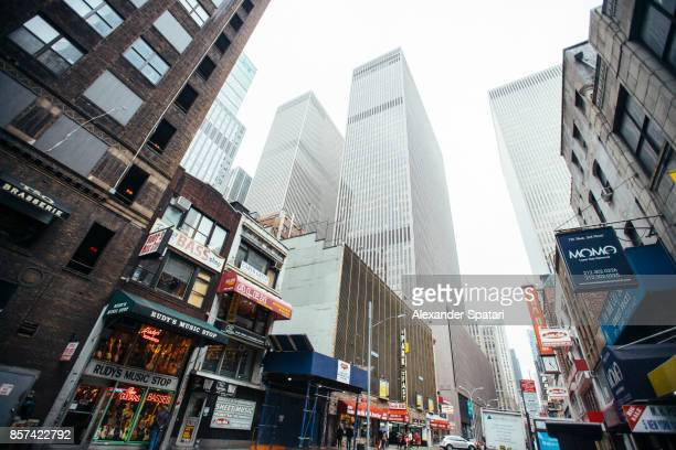 Street scene at Midtown Manhattan on a gloomy day, New York City, USA