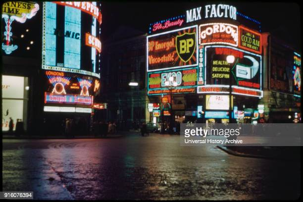 Street Scene at Night Piccadilly Circus North Side London England UK 1960