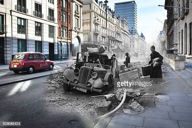 In this digital composite image a comparison has been made between a London scene during the Blitz of 19401941 and present day to remember the 75th...