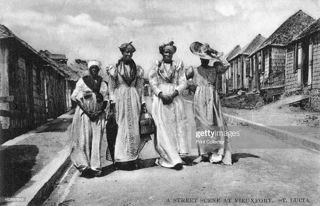 A street scene at Vieuxfort, St Lucia, early 20th century. : News Photo