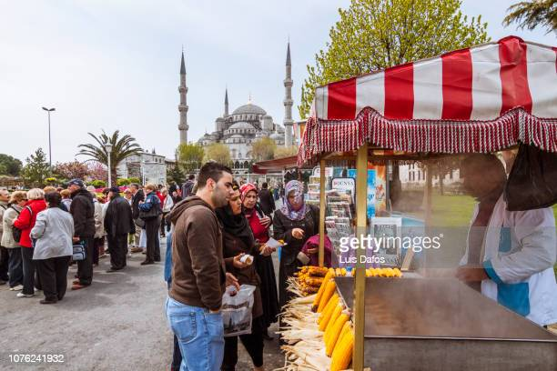 street scene, blue mosque square - dafos stock photos and pictures