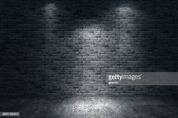 Street scene, brick wall background, dark