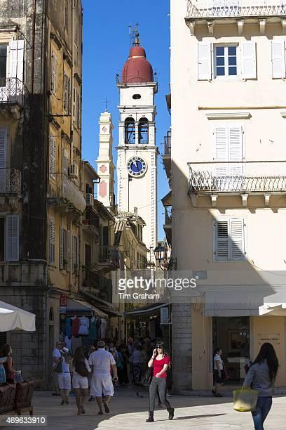 Street scene by Spianada and Church of Saint Spyridon in Kerkyra Corfu Town Greece