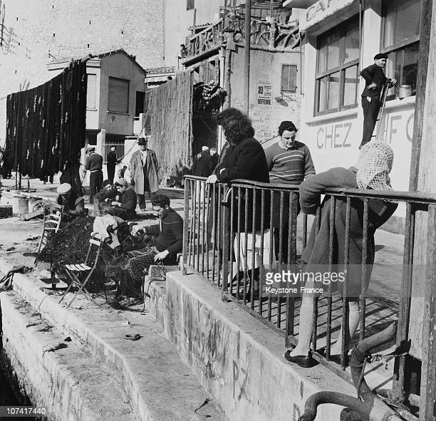 Street Scene Fisher Of Marseille Port At Marseille In France On 1956