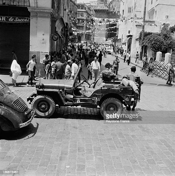 Street scene four days after the proclamation of Independence on July 5 1962 in Algiers Algeria