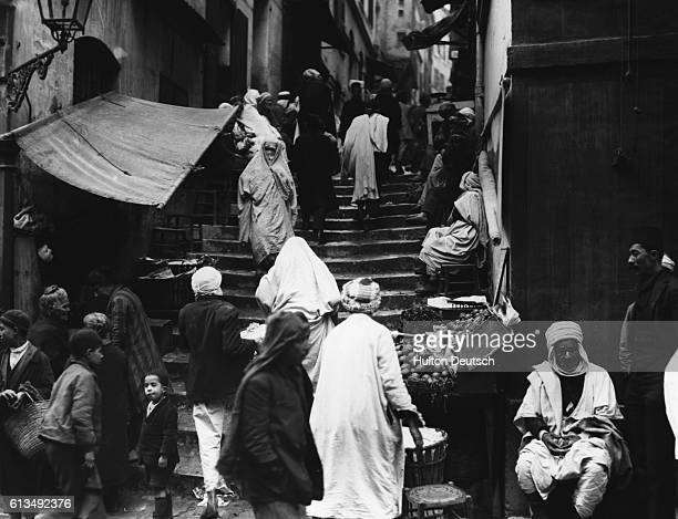 A street scene from the Casbah Algiers from 1930s Algeria | Location Casbah Algiers Algeria