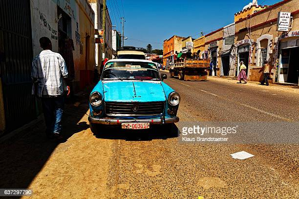 street scene Harar with typical Peugeot 404