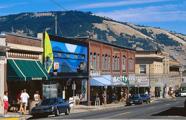 street scene, hood river. - hood river stock pictures, royalty-free photos & images