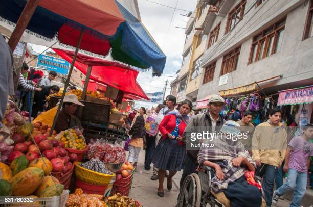 Street scene in a market in Cajamarca Peru Photo taken 17 March 2017 Cajamarca Peru is home to the Yanacocha gold and copper mine one of the largest...